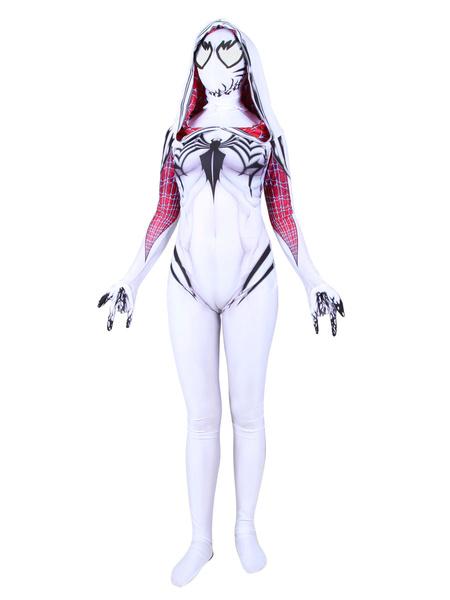 Milanoo Halloween Carnaval Gwen Stacy Cosplay Verom White Film Jumpsuit Leotard Marvel Comics Cosplay Disfraz