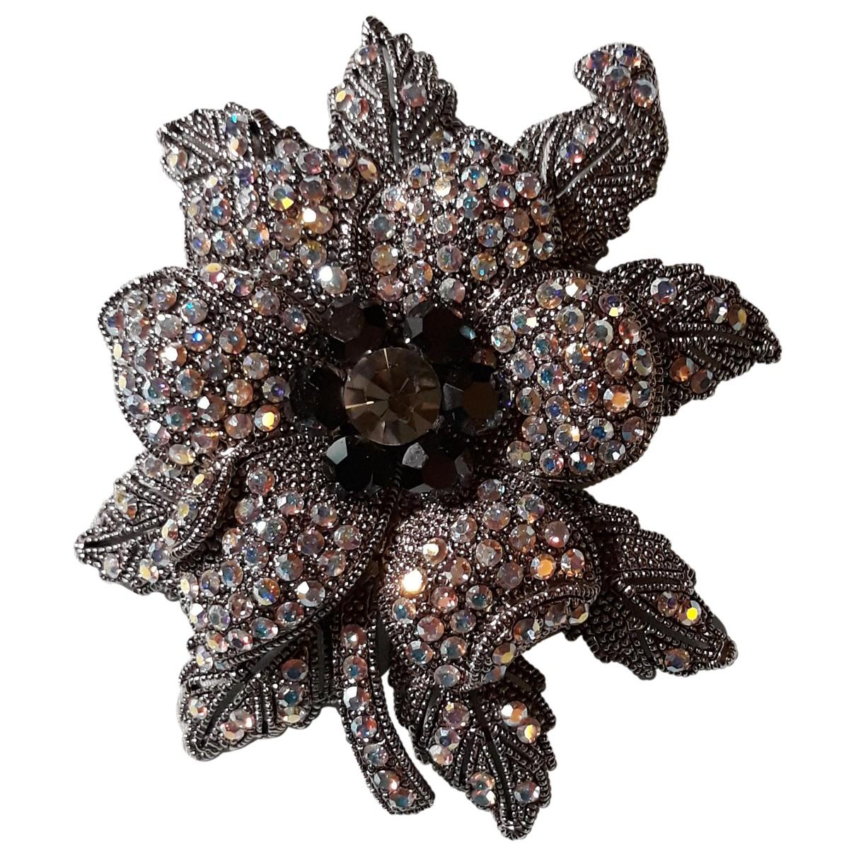 - Broche Motifs Floraux pour femme en cristal - anthracite