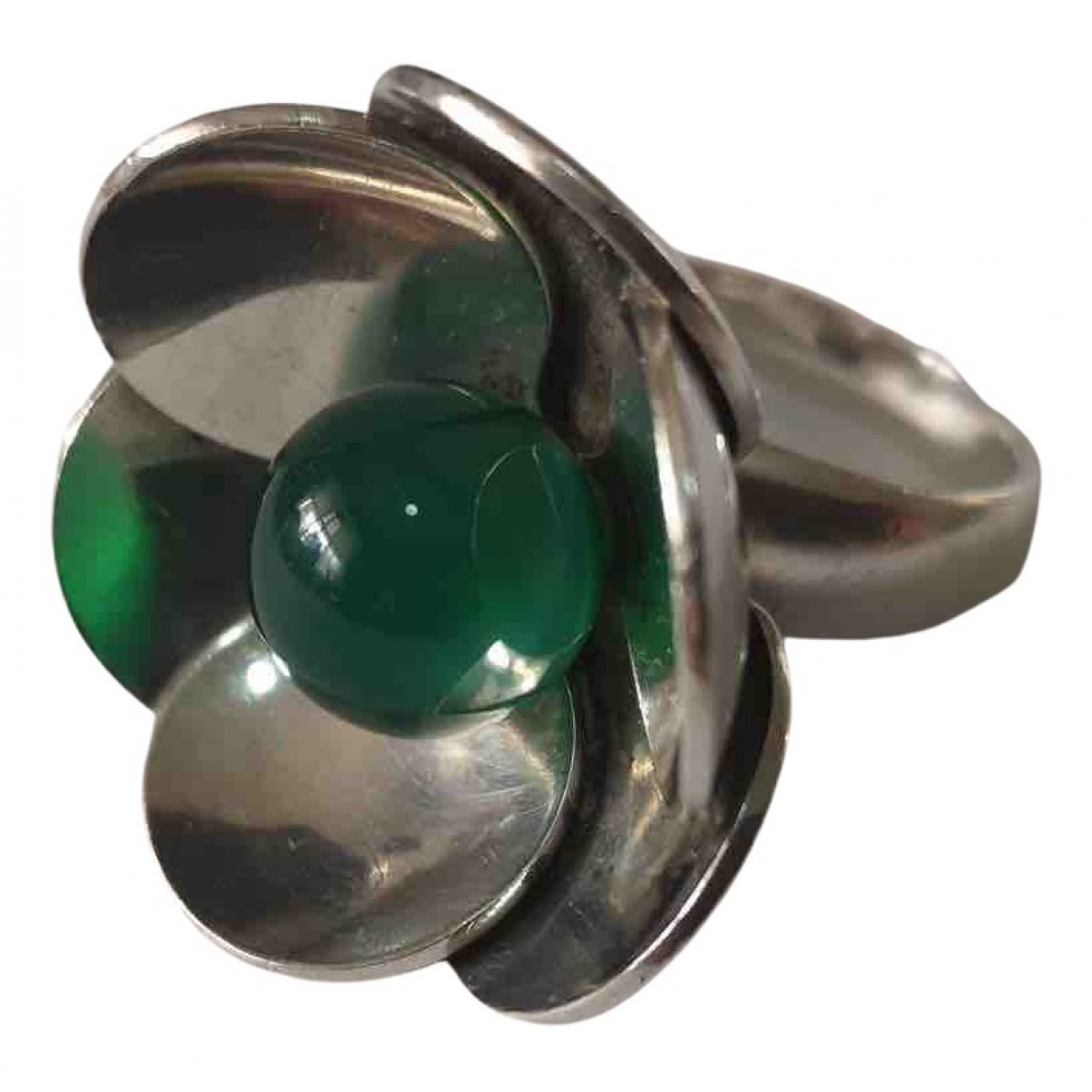 Georg Jensen \N Ring in  Gruen Silber
