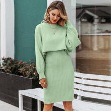 Einfarbiges Strick Kleid & Pullover