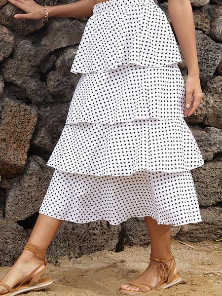 Milanoo Polka Dot Tiered Skirt Ruffle Summer Skirt