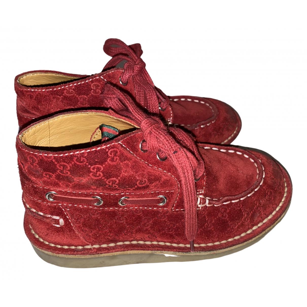 Gucci - A lacets   pour enfant en suede - rouge