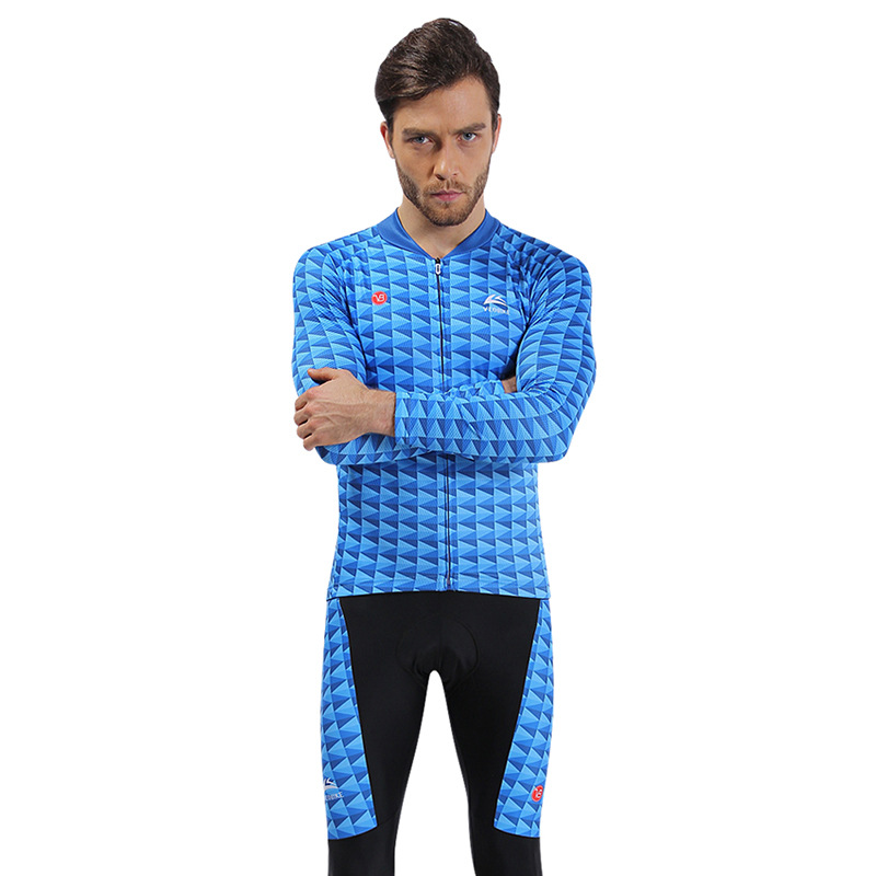 Blue Shark Breathable Quick Dry Long Sleeve Mens Cycling Jersey