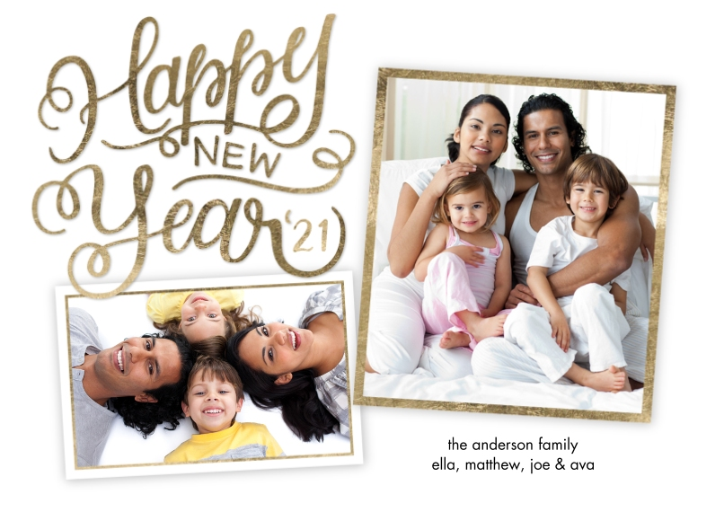 New Years Photo Cards 5x7 Cards, Premium Cardstock 120lb with Elegant Corners, Card & Stationery -New Year 2021 Script by Tumbalina