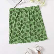 Falda con malla floral de borde en forma de lechuga