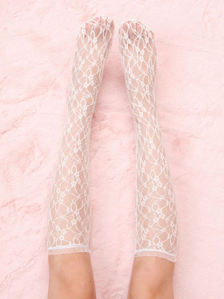 Milanoo Sweet Lolita Socks Lace Tights Polyester Lolita Accessories