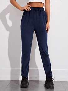 Elastic Waist Velvet Pants