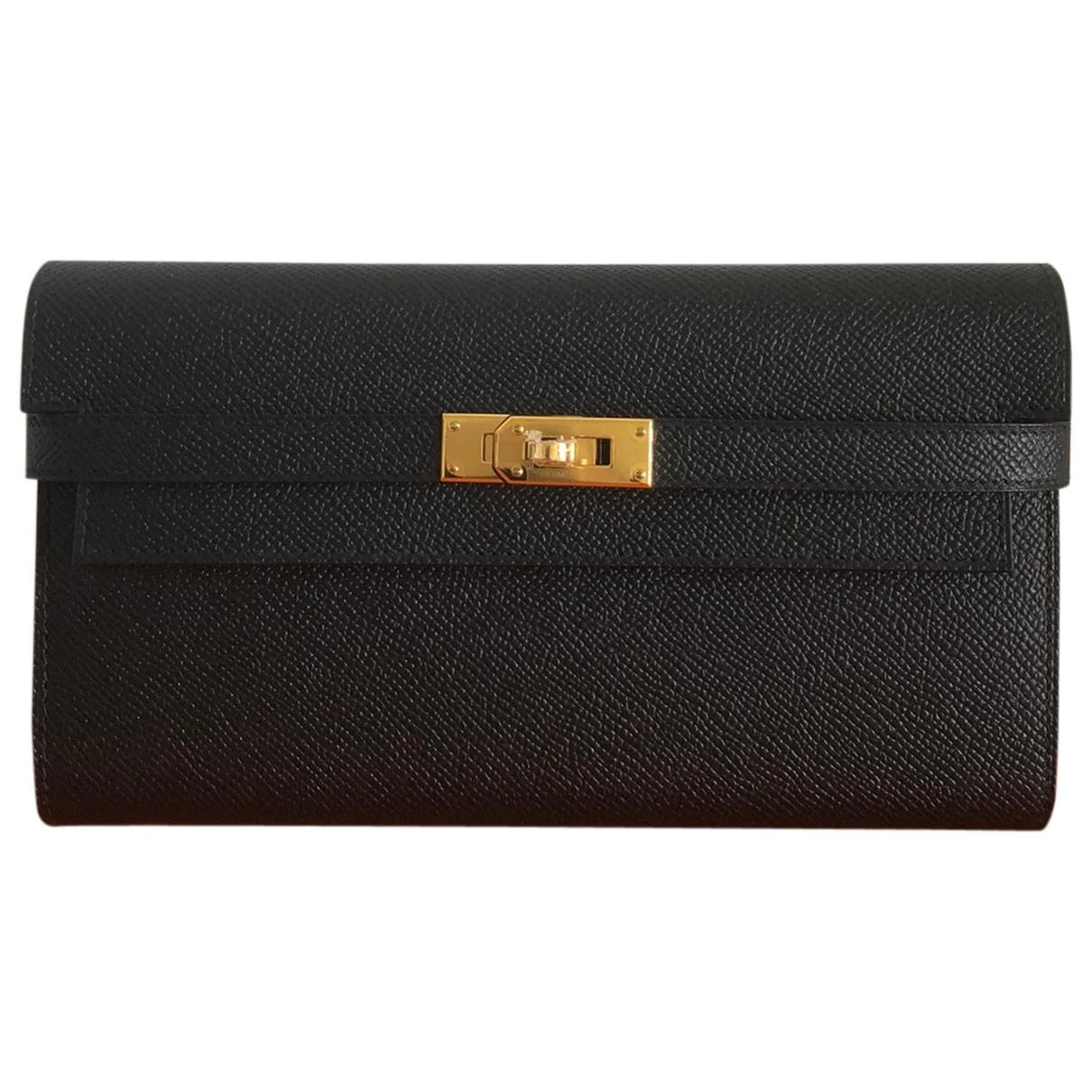 Hermes - Portefeuille Kelly pour femme en cuir - noir