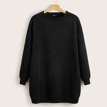Plus Solid Sweatshirt Dress