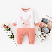 Baby Girl Two Tone Rabbit Print Jumpsuit