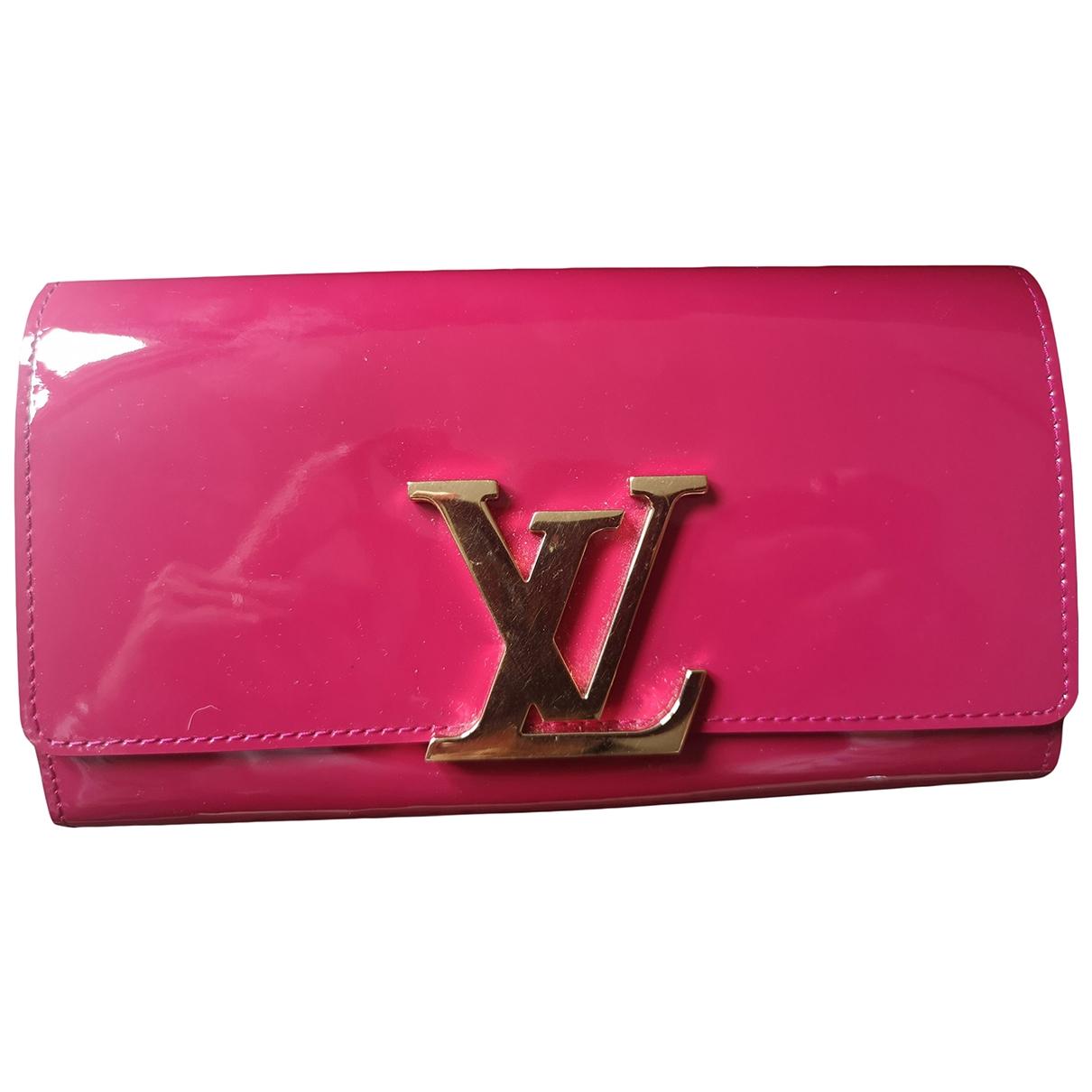 Louis Vuitton - Portefeuille Louise pour femme en cuir verni - rose