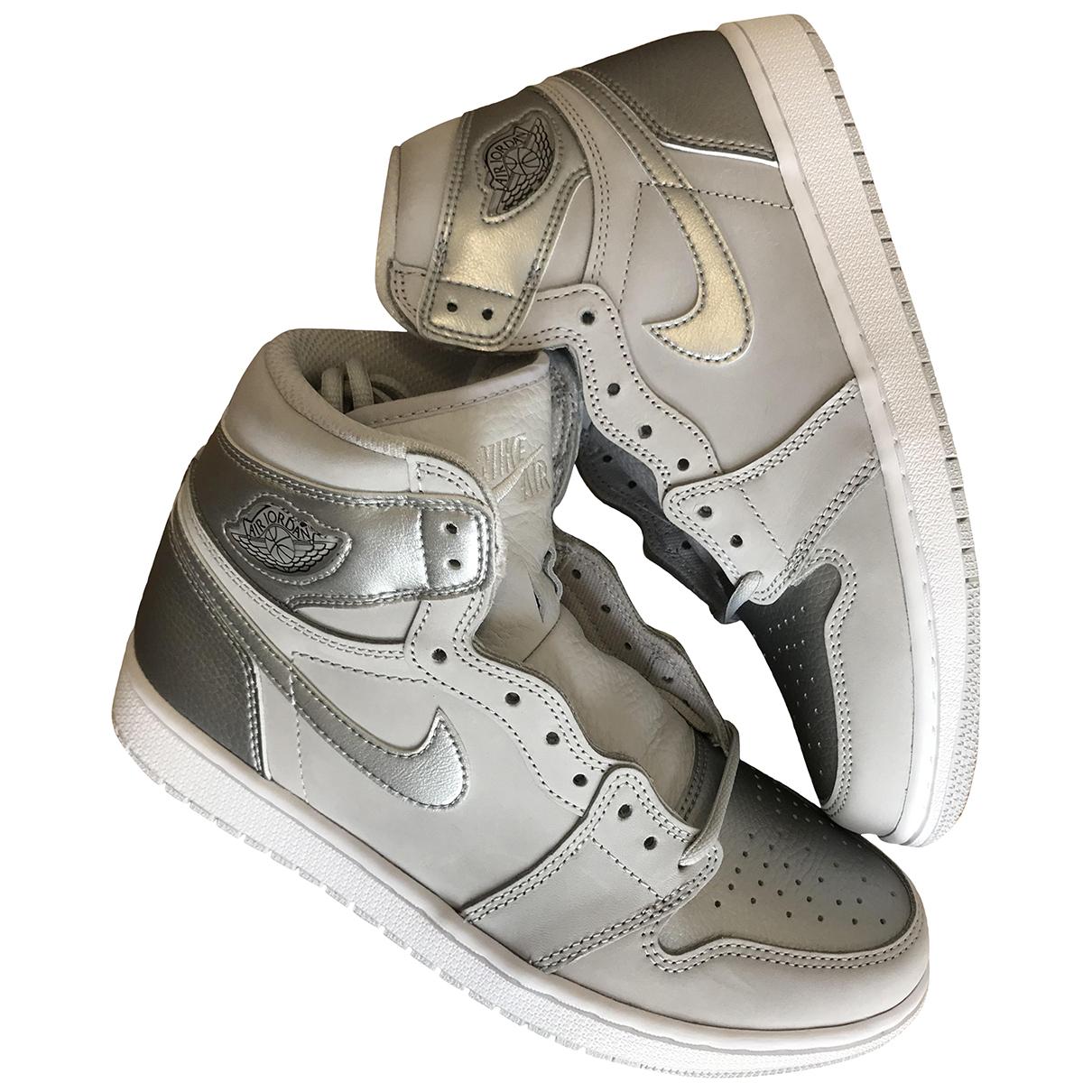Jordan - Baskets Air Jordan 1  pour homme en cuir - argente