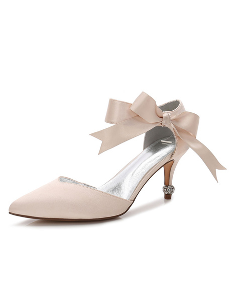 Milanoo D'orsay Bridesmaid Shoes Pointed Toe Low Kitten Heel Wedding Shoes with Bow