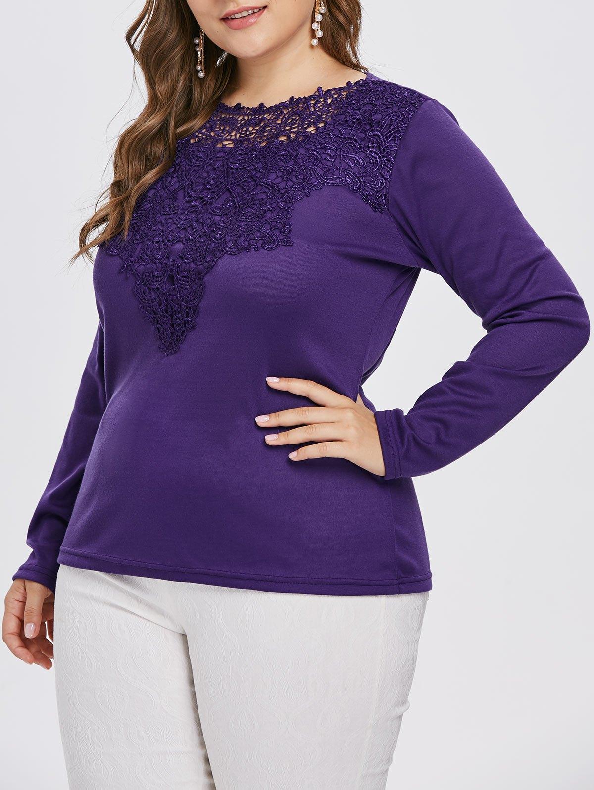 Long Sleeve Lace Applique Plus Size T-shirt