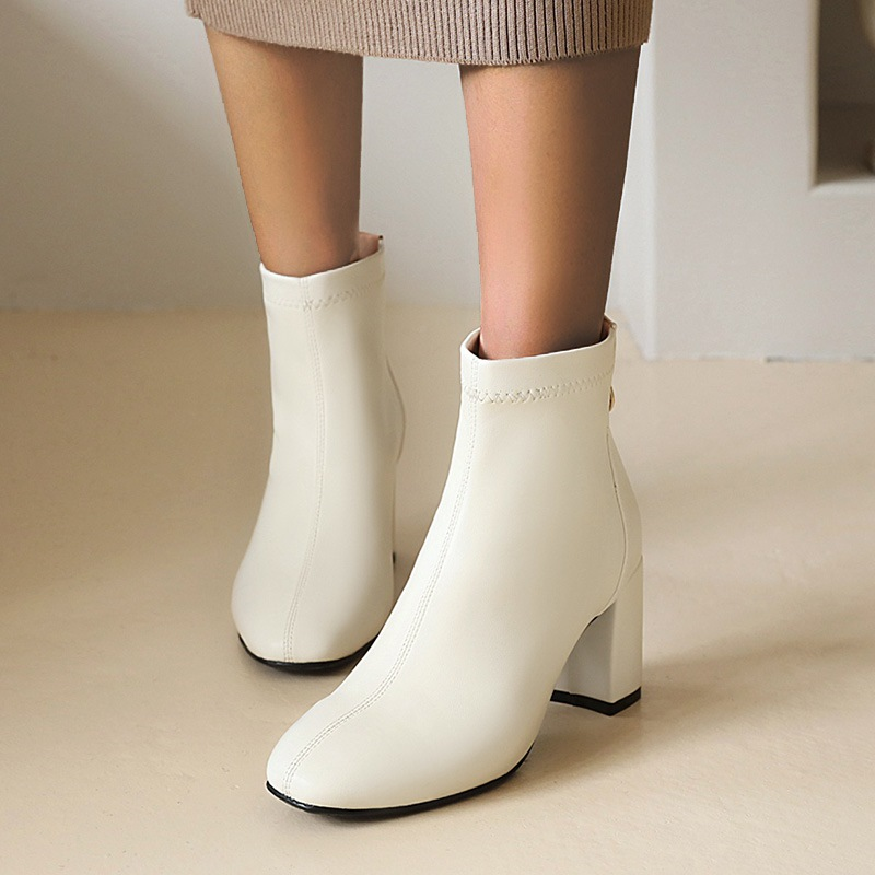 Ericdress Back Zip Chunky Heel Round Toe Zipper Boots
