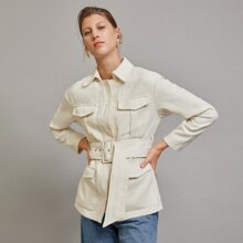 Multi-pocket Buckle Belted Tweed Coat