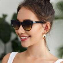 Schildpattrahmen Cat Eye Sonnenbrille mit Etui