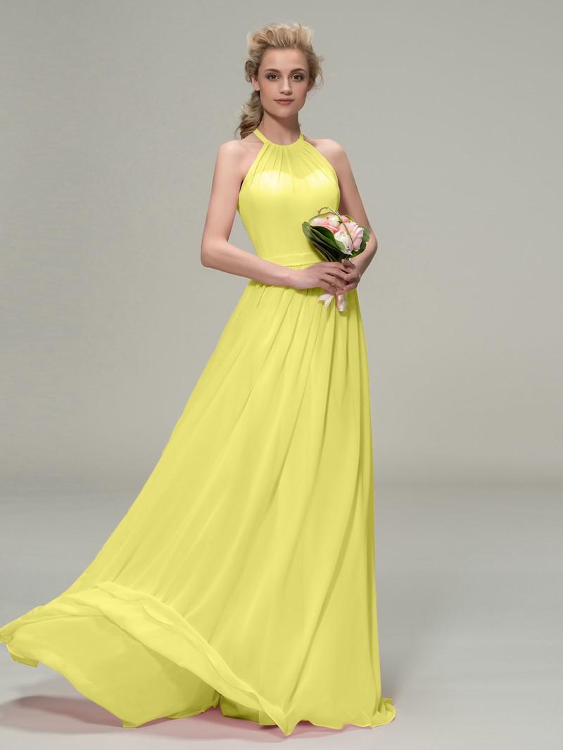 Ericdress Halter Ruched Long Bridesmaid Dress