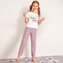 Girls Letter and Heart Print Tee and Pants PJ Set
