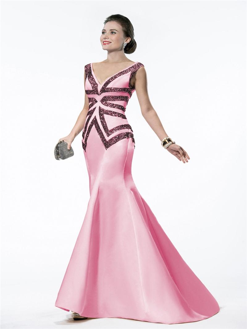 Elegant V-Neck Mermaid Evening Dress With Beadings