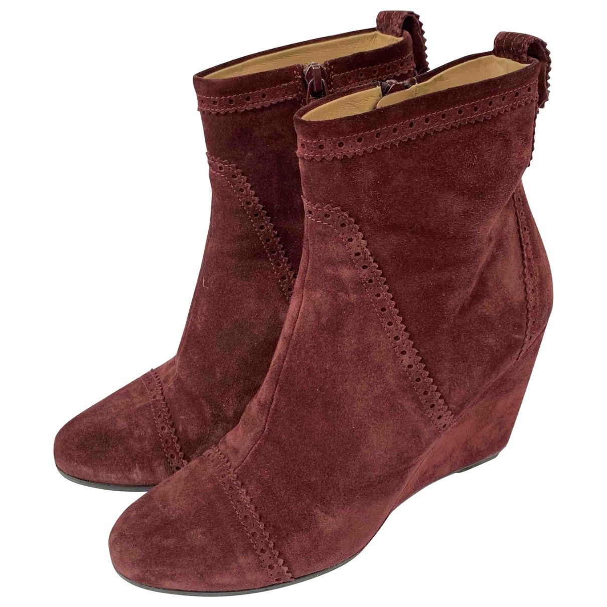 Balenciaga - Boots   pour femme en suede - bordeaux