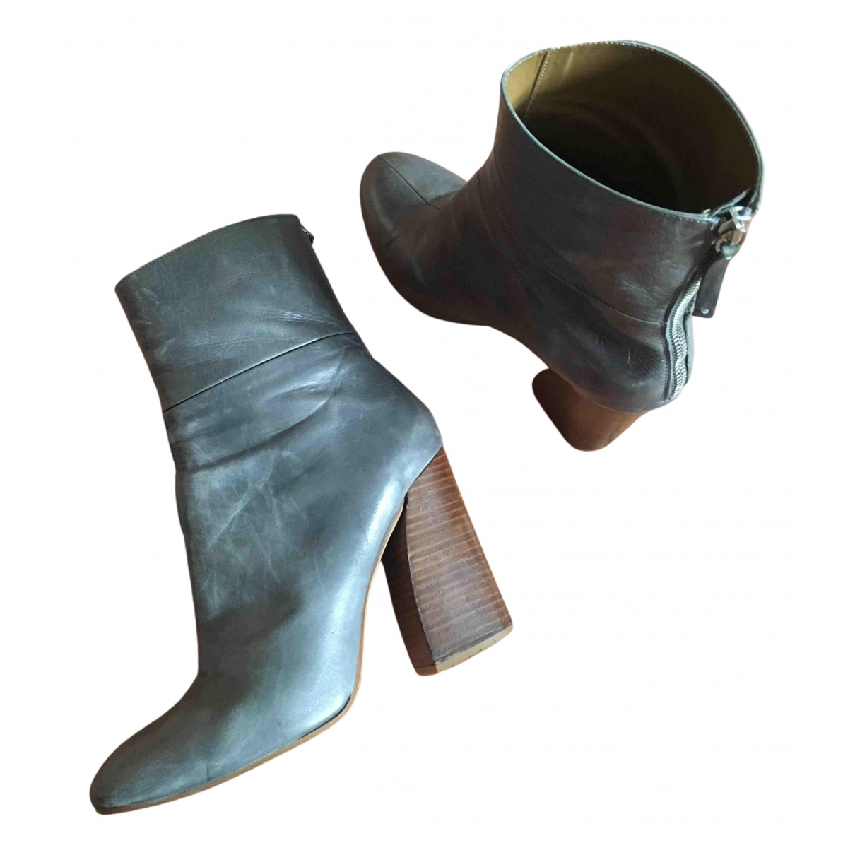 Zara N Grey Leather Ankle boots for Women 41 IT