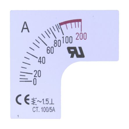 RS PRO Meter Scale, 150A, for use with 48 x 48 Analogue Panel Ammeter