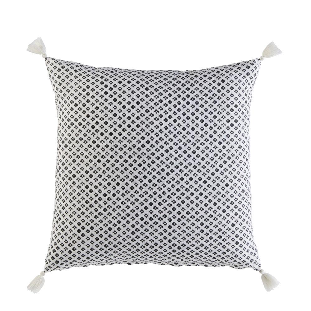 Baumwollkissen mit Grafikmustern und Pompons, weiss 45x45