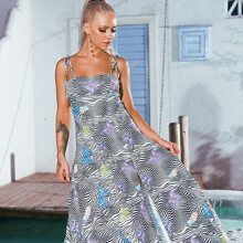 Cami Kleid mit Schmetterling & Streifen Muster