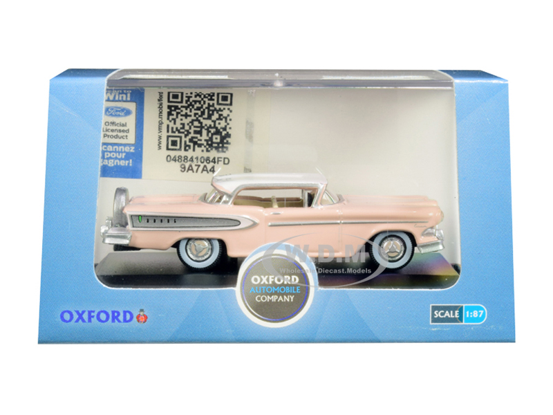 1958 Edsel Citation Chalk Pink with Frost White Top 1/87 (HO) Scale Diecast Model Car by Oxford Diecast