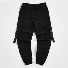 Men Drawstring Waist Buckle Strap Pocket Patched Pants
