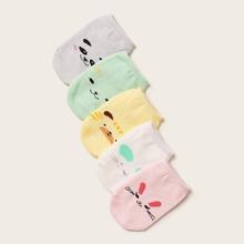 5 Paare Baby Karikatur Grafik Socken