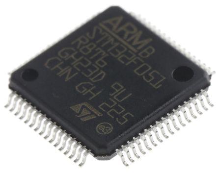 STMicroelectronics STM32F051R8T6, 32bit ARM Cortex M0 Microcontroller, STM32F, 48MHz, 64 kB Flash, 64-Pin LQFP (5)