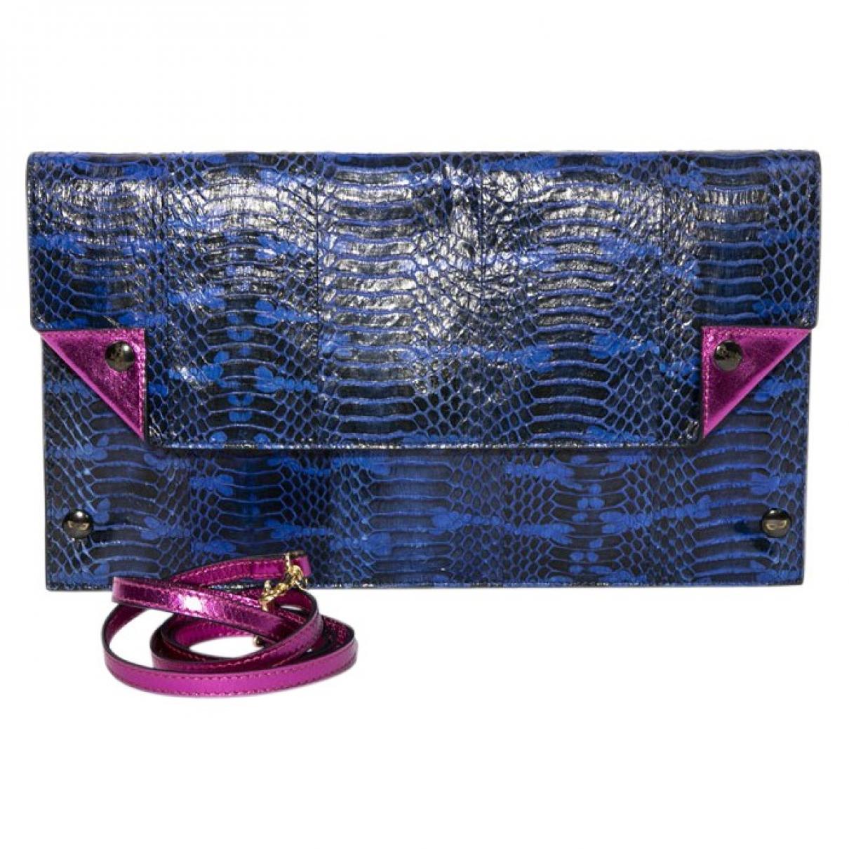 - Pochette   pour femme en python - bleu