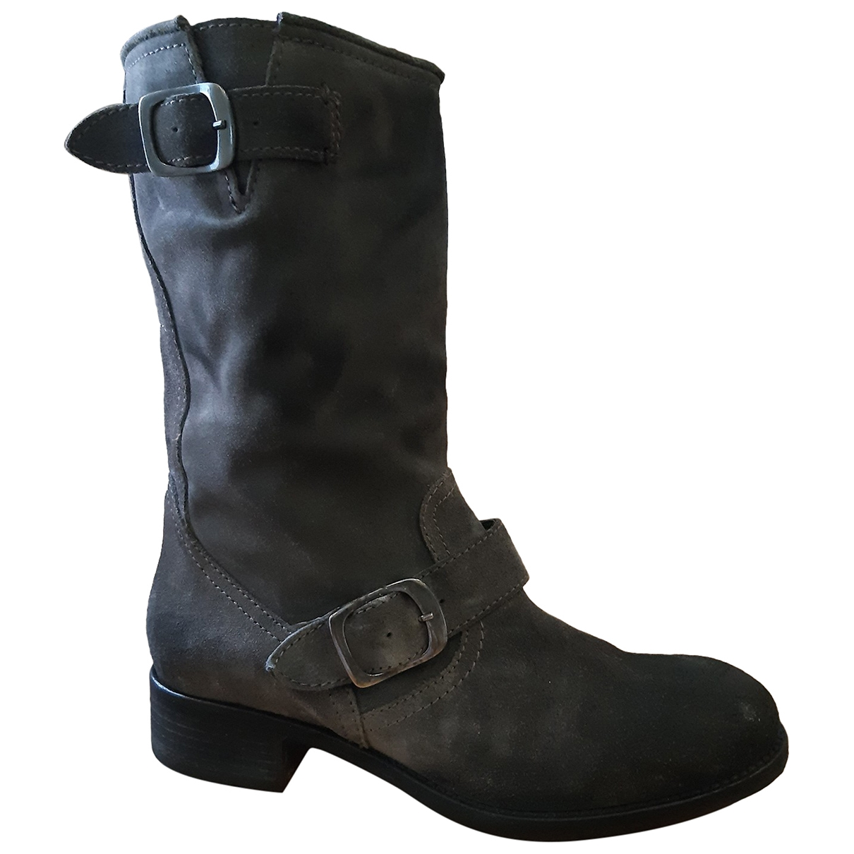 Non Signé / Unsigned \N Anthracite Suede Ankle boots for Women 37 EU