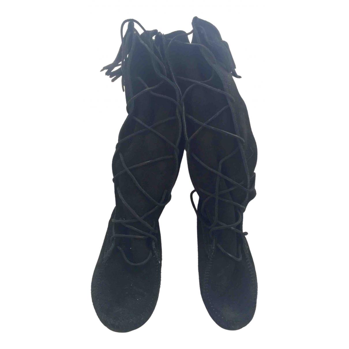 Minnetonka - Bottes   pour femme en cuir - noir