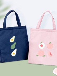 1pc Fruit Print Insulated Bag