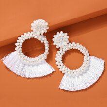1pair Tassel Decor Round Drop Earrings