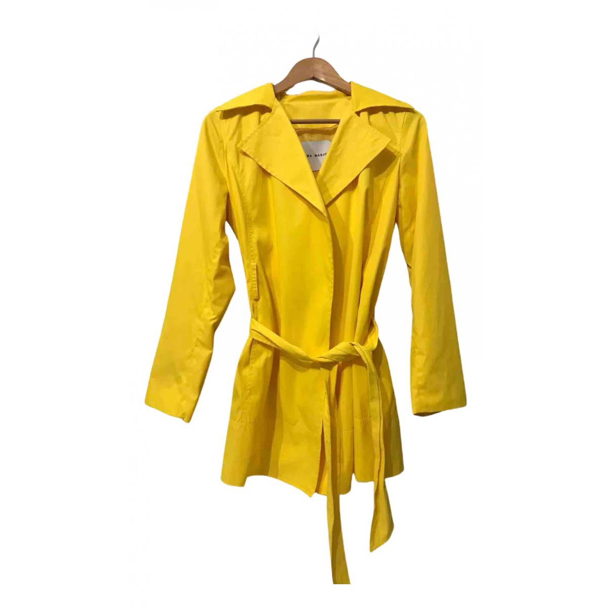 Zara N Yellow Cotton Trench coat for Women M International