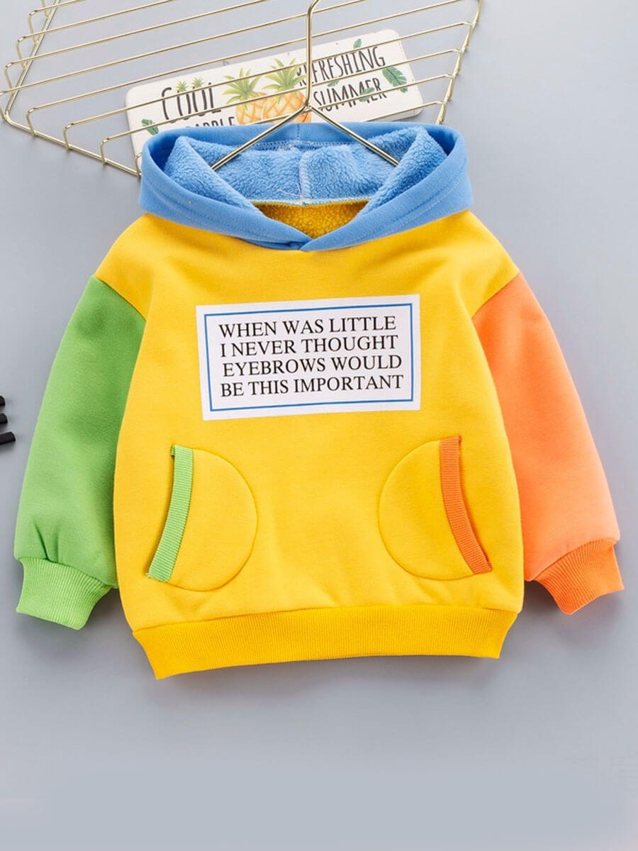 LW Lovely Street Hooded Collar Letter Patchwork Yellow Boy Hoodie