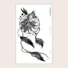 Pegatina tatuaje con patron de pajaro y pluma