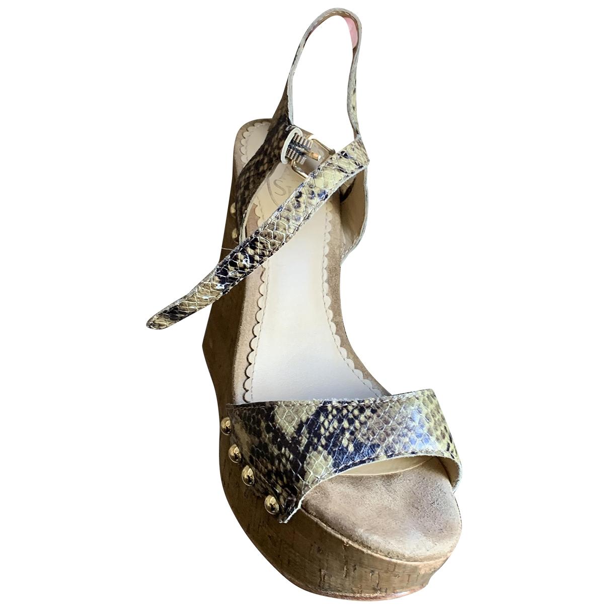 Ash - Sandales   pour femme en python - beige