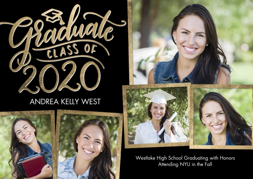 2020 Graduation Announcements 5x7 Cards, Premium Cardstock 120lb with Rounded Corners, Card & Stationery -2020 Graduate Cap by Tumbalina
