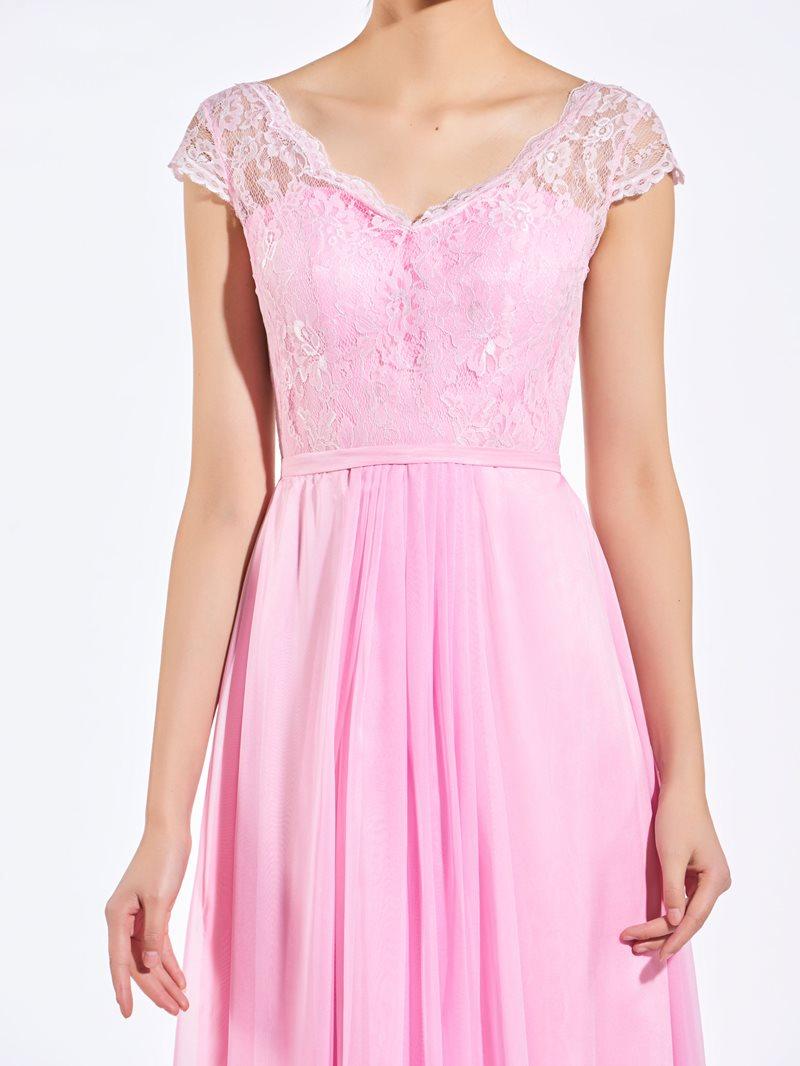 Ericdress V Neck Cap Sleeves Lace Bridesmaid Dress