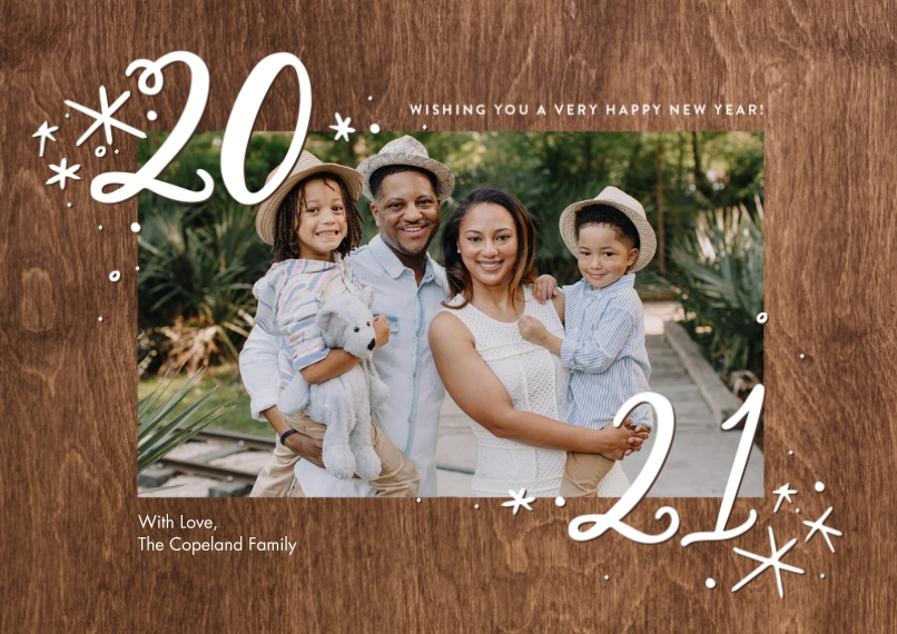 New Year's Photo Cards 5x7 Cards, Premium Cardstock 120lb with Scalloped Corners, Card & Stationery -2021 Stars by Tumbalina