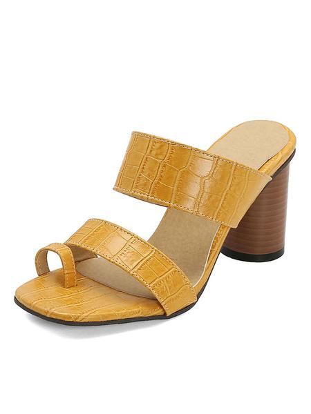 Milanoo Las mulas de tacon alto de las mujeres del dedo del pie del lazo grueso del talon de la sandalia Zapatillas