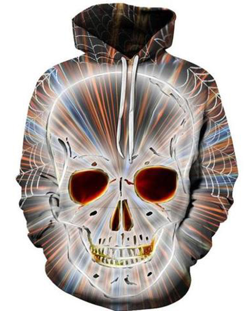 Cool Design Skull Clear Print Loose Model Fashion 3D Painted Hoodie