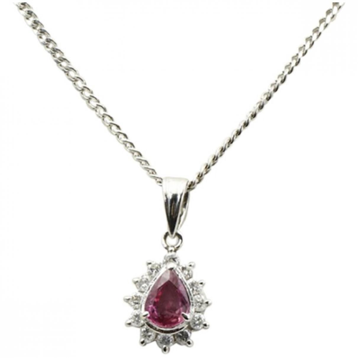 - Collier Rubis pour femme en platine - rose