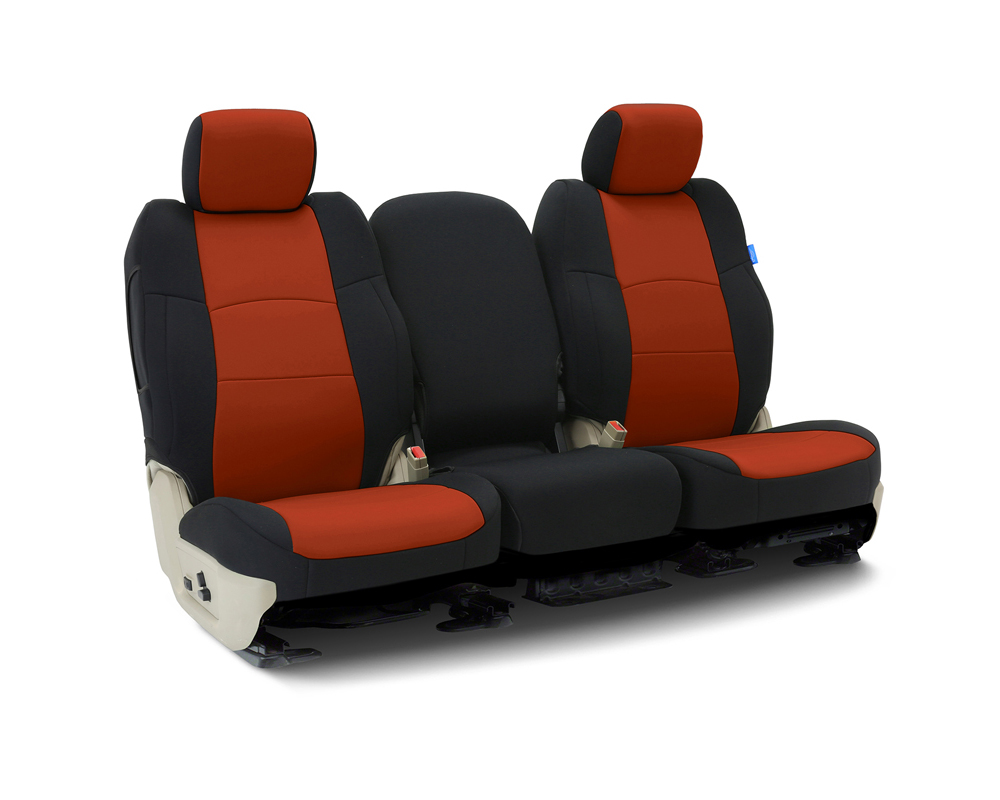 Coverking CSCF89CH9656 Custom Seat Covers 1 Row Neoprene Inferno Orange | Black Sides Front Chevrolet Silverado 2500 | 3500 HD 2015-2019