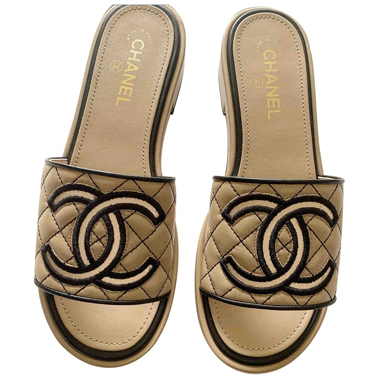 Chanel - Sandales   pour femme en cuir - beige